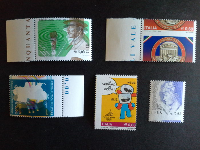Republic of Italy 2004/2009 - lot of 5 stamps, varieties