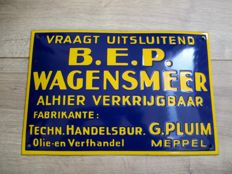 Enamel advertising sign B. E. P Wagensmeer