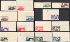 Fezzan-Ghadames 1946 – French Occupation Military Territory, non-perforated, complete series of 15 values – Sassone No. S2