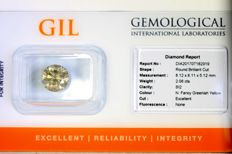 Diamond of 2.08 ct - Fancy Greenish Yellow - SI2 - Excellent cut - No Reserve Price