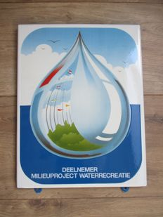 Enamel advertising sign Milieuproject waterrecreatie - ca. 1960s