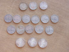 Italy, Republic – 500 lire and 1,000 lire (17 pieces) – silver