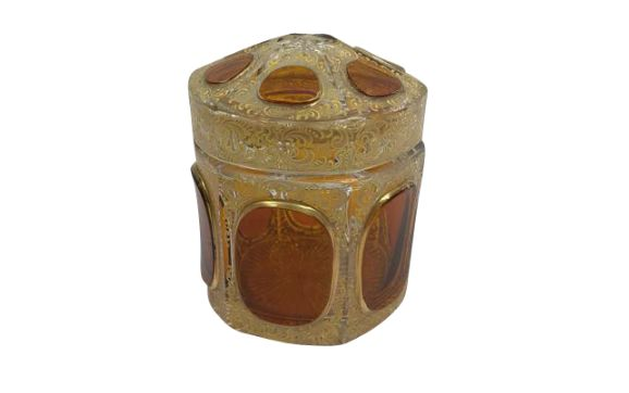 Bohemian glass Moser lidded box with gold plated enamel - Czech Republic - C. 1900