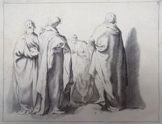 2 prints from from the scarce 'T eerste Deel van de Teekenkonst' - Abraham Bloemaert - Group Studies - 1660