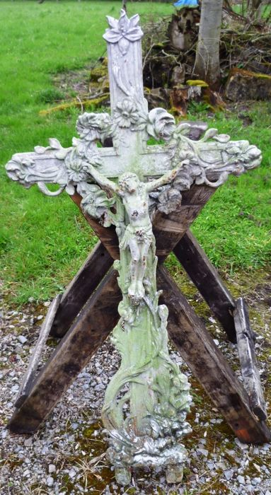 Large cast iron cross with corpus - France - c. 1890