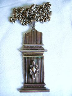 Antique ( 1850-1910 ) – Rare Dutch Secessionist Necklace with Pendant /Medal in Solid Silver - NO Reserve