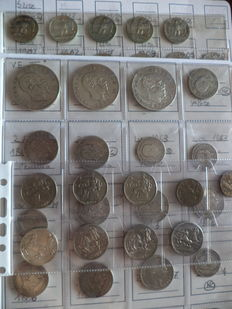 Italy, Kingdom - Lot of 74 coins (including 37 silver coins) from V.E.II to V.E.III