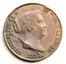 Spain - Isabel II - 25 copper real cents - 1854 - Segovia.