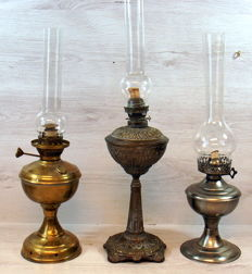 Three Oil Lamps, Complete with Wind Glass.