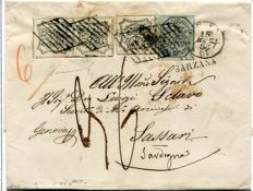 Papal States, 1852 - 6 Bajocchi and 8 Bajocchi, pair and single on letter from Rome to Sassari - Sass.  No.  7 and 9