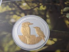 Australia - 1 Dollar 2017 'Kookaburra' partial gold plated edition - 1 oz silver
