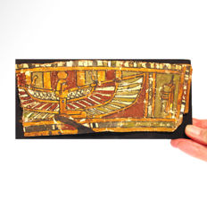 Egyptian Painted Gesso Cartonnage Panel, Sarcophagus Fragment,  Winged Maat, 20 cm. L.