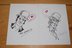 Van Riet, Ronald + Broeckx, Jeff - pair of original drawings - Robert & Bertrand - (1985)