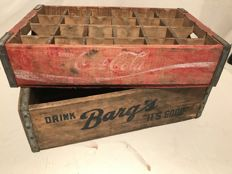 Two vintage crates from the USA, Coca-Cola / Barg's (Rare) - from the 1960s.