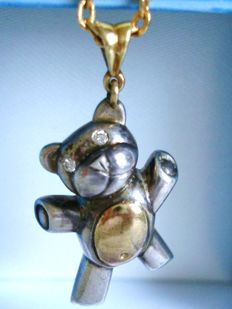 Vintage Solid Silver and 18 kt yellow Gold Teddy Bear Pendant with Diamond eyes - Pristine