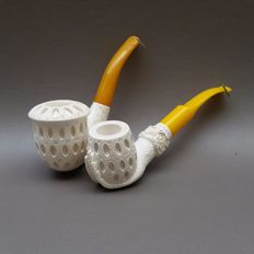 "Two  meerschaum pipes ""Latticework"" - Turkey, ca. 1970"