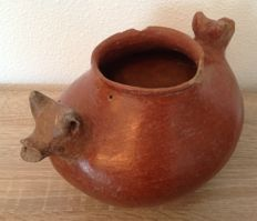 Large Pre-Columbian Colima double headed dog vessel - Mexico - 26 cm