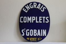 Enamel advertising sign from France.  Engrais complets St Gobain