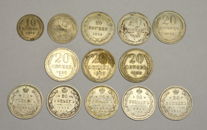 Russia/USSR - Lot of 13 coins - 10, 15, 20 Kopeks 1910/1930 - silver