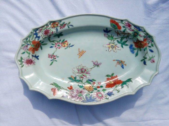 Large Family rose plate - China - 18th century