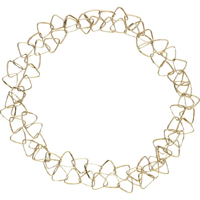 14 kt - Yellow gold fantasy link necklace consisting of tooled triangles - Length: approx. 86 cm