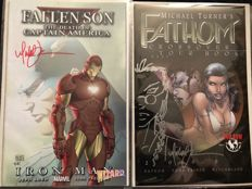 Wizard / Marvel Comics / Top Cow Comics - Fallen Son : Death Of Captain America - Signed + Fathom Including Sketch Remark By Michael Turner