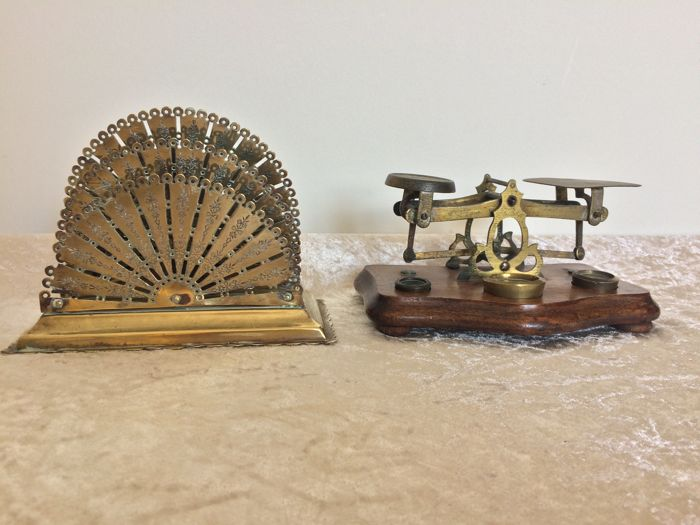 Brass letter scales with three weights & brass letter holder England - early 20th century