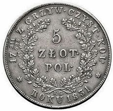 Polonia, Russia: 5 Zloty 1831 kg November Uprising - with a fraction mark -