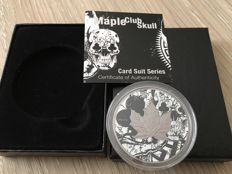 Canada - 5 Dollars 2017 'Maple Club Skull' w/ Black Ruthenium - 1 oz Silver