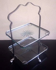 A chrome shop etagere on ball feet with two glass plates, the Netherlands, first half 20th century