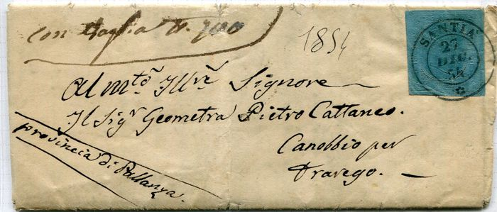 Sardinia 1853 – 20 cent blue, cancelled on letter sent from Santhià to Canobbio No. 5, cancellation P.9