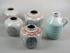 Mobach - Four ginger pots and a pitcher