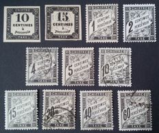 France 1859/92 – Selection of  11 tax stamps – Yvert 1, 3, 10, 11, 13, 14, 15, 16, 17, 19 and 21