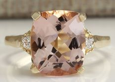 4.85 Carat Morganite And Diamond Ring In 14K Solid Yellow Gold  *** Free Shipping *** No Reserve *** Free Resizing ***