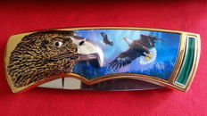 Franklin Mint hunting knife with pouch / collector's knife eagle with pouch