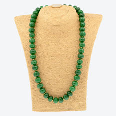 18k/750 yellow gold necklace with emeralds - Length 57 cm