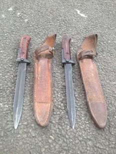 Czech AK-47 Samopal Bayonet - 2nd Model - with original leather sheath lot of 2