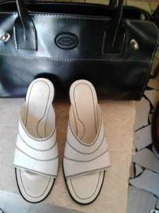 Tod's white haute couture sandals and Tod's black shoulder bag