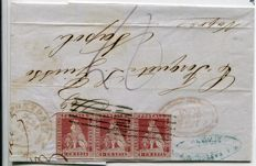 Tuscany 1851 – 1 crazia, light carmine on grey, strip of three on letter sent from Livorni to Naples – Sassone No. 4