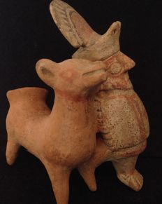Pre-Columbian Recuay culture - man with llama - Peru - 16 cm