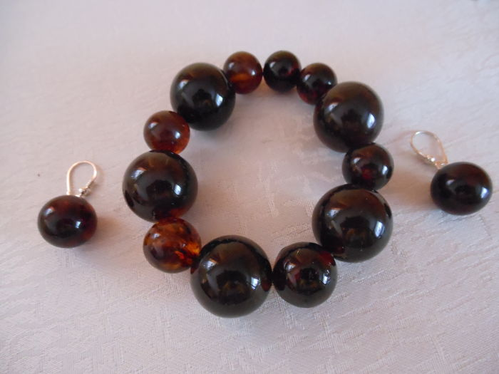 Amber bracelet with earrings – silver 925, weight 50 g