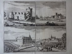 Ritthem, Fort Rammekens; Blaeu / Smallegange / Bulthuis - 8 copper engravings on 4 pages - 17th/18th century