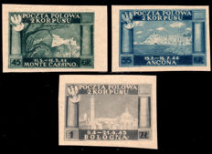 Polish Corps 1946 – Polish Victories in Italy, 2 stamps Not perforated – Sass.  No.  1A/3A