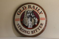 Enamel convex advertising sign for Old Baily Strong Bitter.