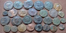 Roman Empire - LOT of 28 x AE Roman Coins (3rd - 4th Cent. AD), Constantine the Great, Constantius , Tetricus I & II, Probus, Licinius II, Claudius II, Theodosius I, Maximianus, Gallienus, DIVO CLAVDIO, Valentinianus, Arcadius