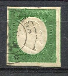 Sardinia 1851 – 5 cent, dark green – Sassone No. 7e