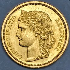 Switzerland - 20 Francs 1883 'Helvetia' - Gold