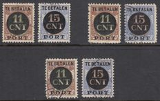 The Netherlands 1924 - Postage Packet Seals - NVPH PV1A / PV2A, PV1B / PV2B and PV1C / PV2C