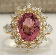 4.60 Carat Tourmaline And Diamond Ring In 14K Solid Yellow Gold *** Free Shipping *** No Reserve *** Free Resizing