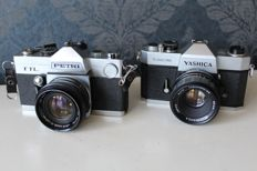 Yashica TL Electro single-lens reflex camera with Yashica 1:1.9 50mm lens + Petri TTL camera in chrome with Petri 1:1.8/55 lens